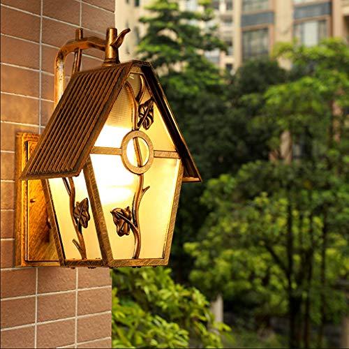 TXTC Wandlamp, rustiek, buitenwand, brons, goudkleurig, wandlamp, wandlamp, industriële lantaarn, retro, wandlamp, waterdicht, voor binnen, veranda, binnenplaats, achter