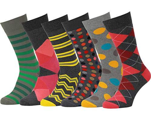 Easton Marlowe 6 PR Calcetines Estampados Hombre - 6Pk #18, Mixto - Colores Neutros Y Brillantes, 43-46 UE