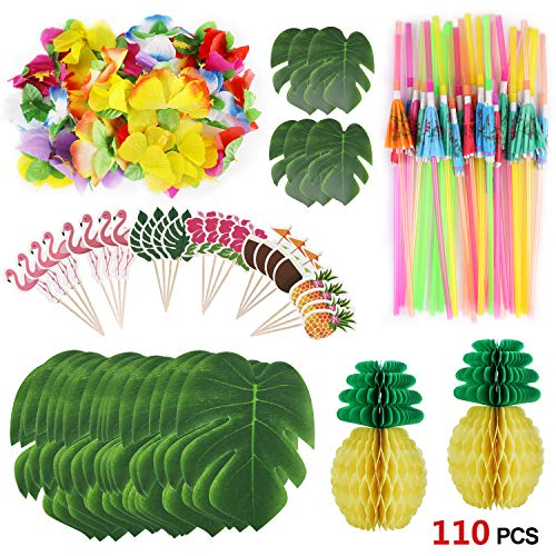 Howaf 111 Stück Tropical Party Dekoration Lieferungen, Tropical Palm Monstera Blätter und Hibiskusblüten, Strohhalme, Ananas, Cupcake Topper für Hawaii Luau Party Thema Tischdekoration