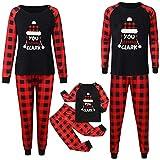 Woohooens Conjunto de Pijamas Familiares de Navidad Ropa de Noche Homewear Algodón Camisas de Manga Larga Pantalones Largos Sudadera