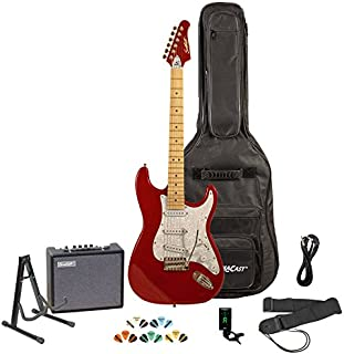 Sawtooth Candy Apple Red Electric Guitar w/Pearl White Pickguard - Includes: Accessories, Amp, Gig Bag & Lesson