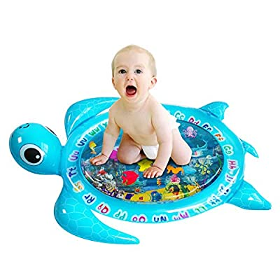 Sofier Tummy Time Mats for Infants Baby Water Mat Early Development Activities Inflatable Play Mat Gifts for Boy Girl Infant Toys Bpa-Free Tummy Time Toys for 3 6 9 Months Baby (sea Turtle)