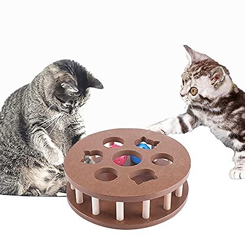 2021進化版 猫おもちゃ ペット用品 猫 鈴 ボール 遊ぶ盤 遊び ストレス解消 猫じゃらし 羽つき 鈴 ねこ 爪とぎ 運動不足 子猫 知育玩具 木製