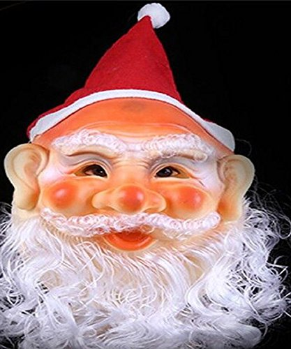 Mondial-Fete - Masque de père noël avec Bonnet et Barbe caoutchouté