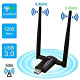 Rayfit 1200Mpbs Adaptador WiFi USB 3.0 Dual Band WiFi Dongle Inalámbrico Receptor WiFi 2.4G / 5GHz Tarjeta de Red Antena WiFi para PC Desktop Laptop Computadora Soporte Windows 10 8 7 XP Vista Mac OS