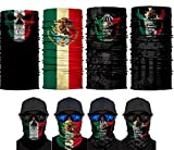 unbrand 4PCS Balaclava Mexico Flag Outdoor Face Scarf Neck Gaiter Headwear Half Face Magic Scarf Bandana Headband Dust-Proof UV Protection for Halloween Motorcycle Cycling Fishing Hiking Skiing