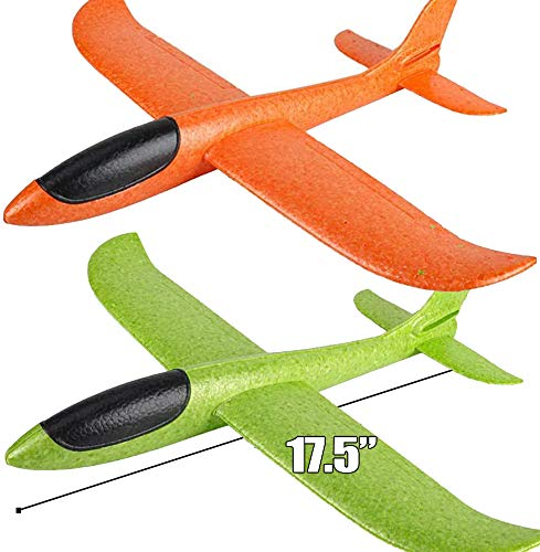 Zwish 2 Pack 17.5' Airplane Toys, Boy Toys, 2 Flight Mode Foam Glider Plane for Kids, Family Yard...
