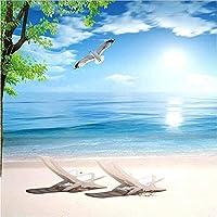 Bosakp 3D写真壁紙ブルービーチ自然風景大壁画レストランリビングルーム防水キャンバス壁紙絵画 160X100Cm