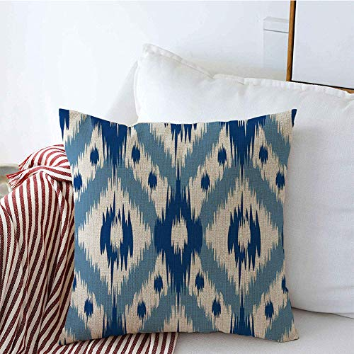 Decorative Throw Pillow Covers Linen Pattern Elegant Traditional Tribal Retro Ikat Style Phone Ogee Abstract Curtains Fur Blue Textures Cushion Pillow Case for Couch Sofa 20x20 Inch