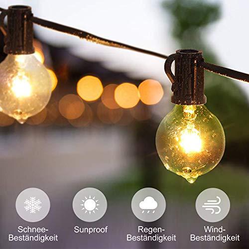 Adoric G40 - Cadena de luces con alambre (25 + 3 bombillas de repuesto, 7,62 m, se puede conectar a la iluminación impermeable, decoración para jardín, bodas, fiestas, Navidad, etc.)