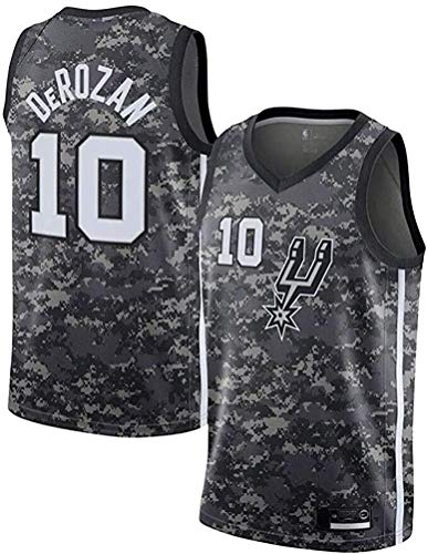 Men's Spurs DeRozan 10# Jersey DeMar Association Fan Edition T-Shirt Mesh Retro Summer Jersey Sleeveless Sport Top,Camouflage,Medium