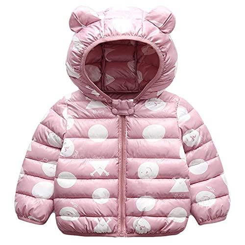 Bambini Invernale Piumino, Cappotto con Cappuccio Snowsuit Manica Lunga Outfits Giubbotto Giacca Outwear Vestiti Regalo 6-12 Mesi,Rosa
