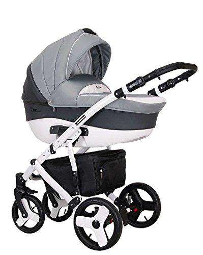 Coletto Florino Classic F 02 - Kombi Kinderwagen 3in1 Baby, Autositz Kinderwagen System 3 in1, Regenschutz Moskitonetz Wickeltasche