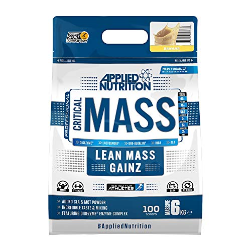 Applied Nutrition Critical Mass Professional Protein Powder, High Calorie Weight Gainer, Low Sugar, Informed Sport Tested, Lean Mass with Creatine, Glutamine, BCAA - 6kg (Banana)