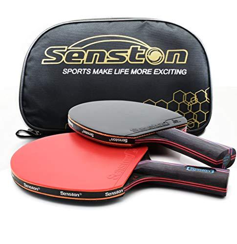 Senston Tischtennisschläger Professioneller Tischtennis Set 2 ITTF-zertifiziertes Tischtennisschläger und 1 Tasche Ideal für Anfänger, Familien und Profis