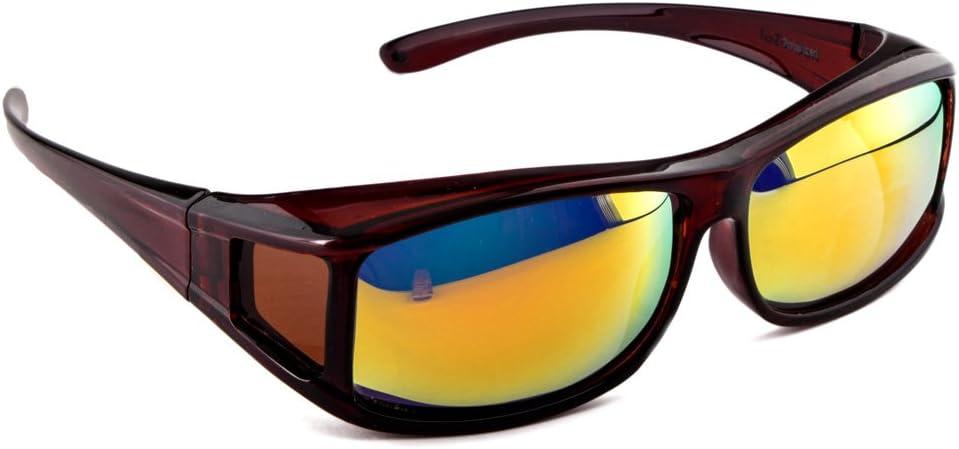 ACTIVE SOL Sur-lunettes solaires pour homme | Sur-lunettes solaires UV400 | polarisées | Sur-lunettes polarisantes pour porteurs de lunettes Marron Brillant