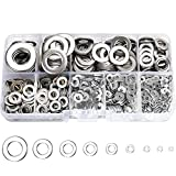 800 Pcs 304 Stainless Steel Flat Washers for Screws Bolts, Fender Washers Assortment Set, Assorted Hardware Lock Metal Washers Kit (9 Sizes-M2 M2.5 M3 M4 M5 M6 M8 M10 M12) for Home, Factories etc YLYL