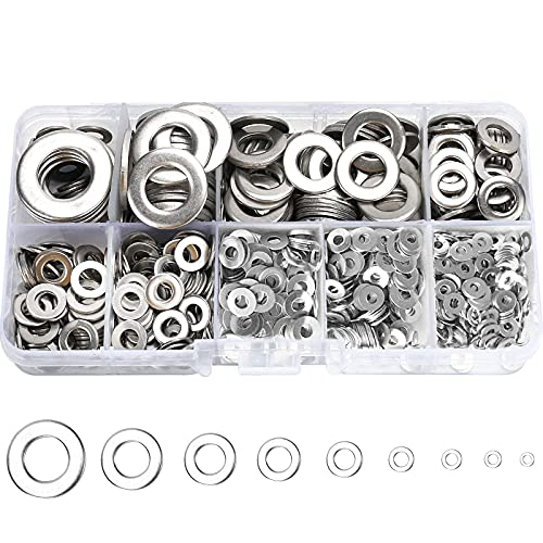 800 Pcs 304 Stainless Steel Flat Washers for Screws Bolts,...