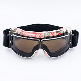 Cynemo Motorcycle Goggles Vintage Pilot Leather Riding Glasses Scooter ATV Off-Road Anti-Scratch Dust Proof Eyewear for Women Adult