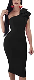 82adf4acc8ac Mokoru Women s Sexy Ruffle One Shoulder Sleeveless Bodycon Party Club Midi  Dress