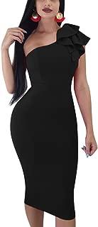 Mokoru Women's Sexy Ruffle One Shoulder Sleeveless Bodycon Party Club Midi Dress