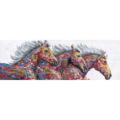 Animal Art - Lienzo decorativo con diseño de tres caballos corriendo para sala de estar, impresión abstracta moderna