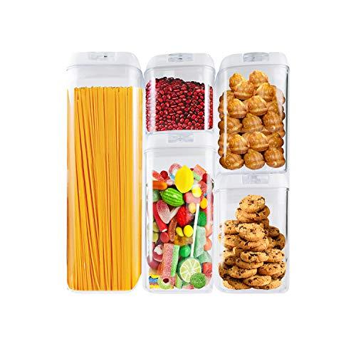 HAPPI 5 Piezas Botes Cocina, Juegos de Recipientes de Plástico,Contenedor de Almacenamiento de Alimentos con Tapas, sin BPA,Bote Almacenaje para Espagueti/Frijoles/Especias