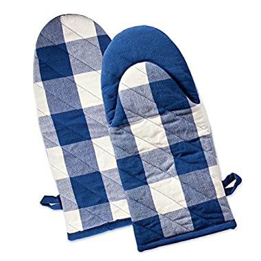 DII Buffalo Check Plaid Oven Mitts, Heat Resistant for Everyday Kitchen Cooking and Baking, Perfect for Holidays or Hostess & Housewarming Gifts (13x6 - Set of 2), Navy & Cream