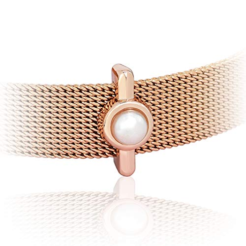 SUNIANA® - Charm \'Perle\' Anhänger für Mesh Armband und Armreif | Charmband | Shell Pearl Charms in Rosegold (Rosegold)