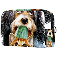 化粧ポーチオーガナイザーポータブルトラベルコスメティックケース犬と猫 ストレージラージポケットジッパー