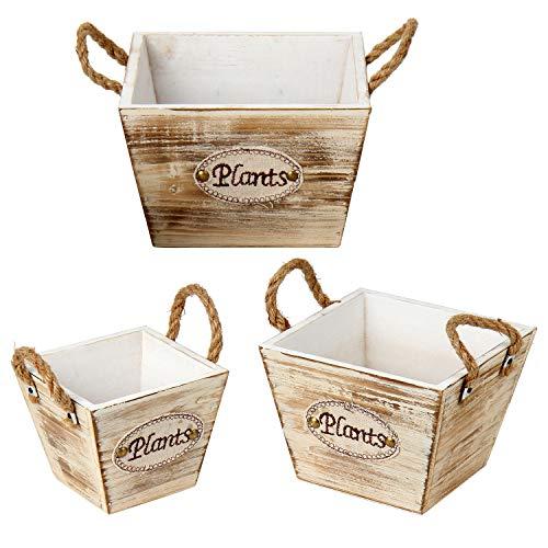 Juego de 3 cajas de madera antiguas con forma de trapecio, estilo shabby, macetero, para plantar o...