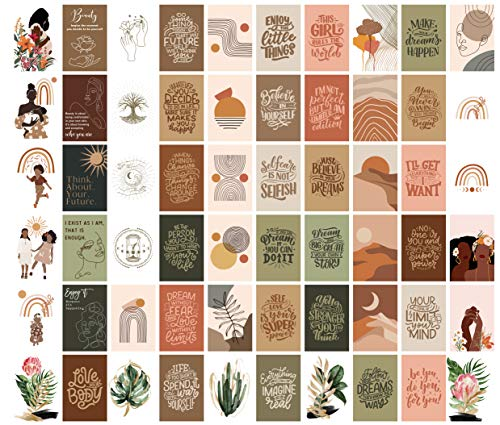 House & Cubby Gasira Range. Aesthetic Wall Collage Kit - Boho Bedroom Decor 6x4 inch Set of 60, Teen Girl Room Decor for Bedroom Boho Mid Century Modern Decor Wall Art Photo Picture Posters.