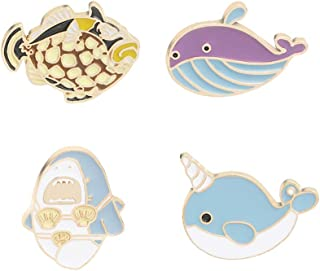 CAROMAY 4 PC Sea Fish Lapel Pins Set Cute Whale Dolphin Enamel Brooches Shark Narwal Pins for Backpacks Women Men Gift