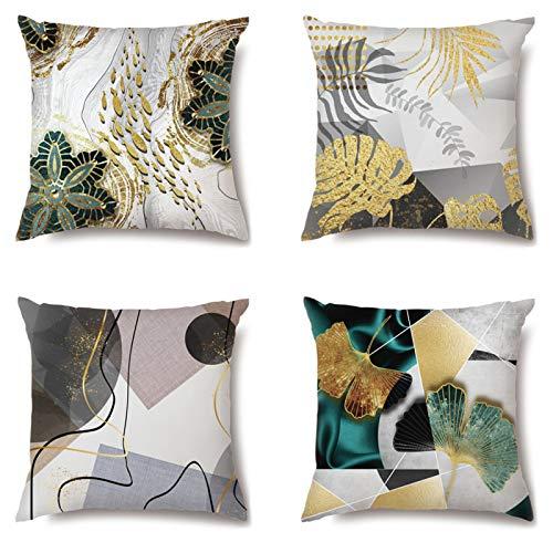 QXbecky Fundas de Cojines Planta de Planeta Abstracta geométrica Simple sin Funda de Almohada Cuadrada de Arte Central 2~4 Piezas Funda de Almohada de Microfibra para decoración de sofá