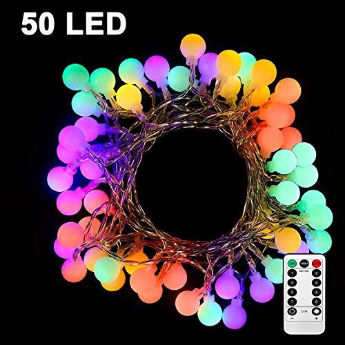 Guirnaldas de Luces 5.2M 50LED LED Bola Luz Cadena Cadena LED Bolas luces Guirnalda Luces Exterior Cadena de luces LED con pilas con IR Mando a distancia impermeable Color