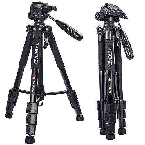 Leichte Stativ – Tairoad Tragbare Kompakt Kamera Stativ mit 360 Grad Schwenkkopf und Schnellwechselplatte für DSLR Canon EOS Nikon Sony Panasonic Samsung – Schwarz