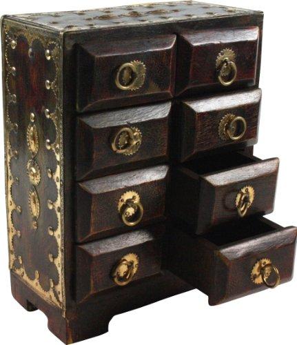 Guru-Shop Schubfachschränkchen, Apothekerschränkchen, Schmuck Schränkchen - Modell 2, Braun, 24x18x9 cm, Dosen, Boxen & Schatullen