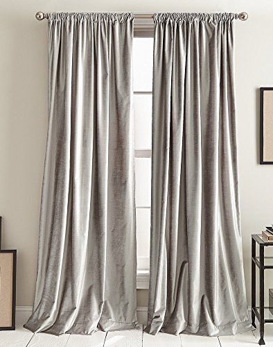 "DKNY Modern Knotted Velvet Lined Curtain Panel Pair, 84"", Silver"