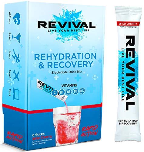 Revival, Rehidratación Rápida: Polvo de electrolitos - Potente Suplemento de Vitamina C, Bebida de Rehidratación, Tabletas Efervescentes para la Hidratación y Resaca Cura – Cereza 6 Paquete