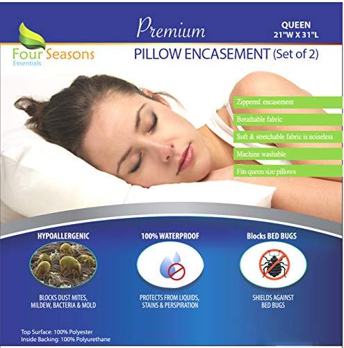Four Seasons Essentials Queen Size Waterproof Pillow Protectors (Set of 2) – Allergy Pillowcase Cover Hypoallergenic Bedbug Dust Mite Proof Zippered Encasement