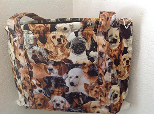 Dog print handbag concealed carry zippers washable, storage pockets