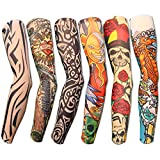 6pcs Set Arts Fake Temporary Tattoo Arm Sunscreen Sleeves - AKStore - Designs Tiger, Crown Heart, Skull, Tribal and Etc
