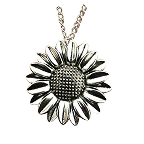 Diysdlridrr - Collar con colgante de girasol de 37 mm, 2 colores, plata envejecida, cadena de 70 cm