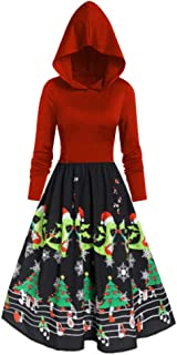Vintage Hooded Dress Christmas Plus Size Print Women Long Sleeve Hight Waist Tops E-Scenery