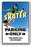 PotteLove Skater Sign Parking Skateboard Wheels Trucks Deck Skating Skateboardingaluminum Metal Sign Tin Plaque 12