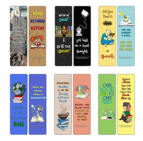Creanoso Book Lovers Bookmarks (60-Pack) - Awesome and Unique Designs - Excellent Party Favors Teacher Classroom Reading Rewards and Cool Gifts for Young Readers, Bibliophiles