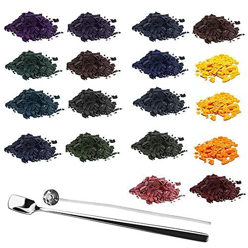 WANTOUTH 18 Farben Wachsfarbe für Kerzen Kerzenwachs Farbe DIY Wachs Färben Kerzenwachsfarbe mit Kerzendochte und Löffel zum Einfärben von Kerze