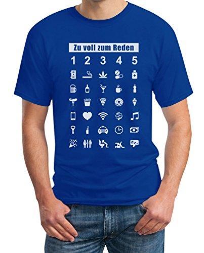 Wenn Zu Voll Zum Reden Zeig Es Mit Dem Finger - 35 Symbole Super Witzig T-Shirt XXL Blau