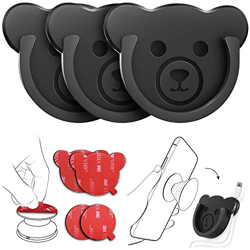 Car Grips Mount for Phone Stand Cute Bear Style Silicone Phone Holder with Phone line Clasp for Collapsible Grip/Socket Mount User Used on Dashboard, Home, Office, Kitchen, Desk, Wall (Black) 3 Pack