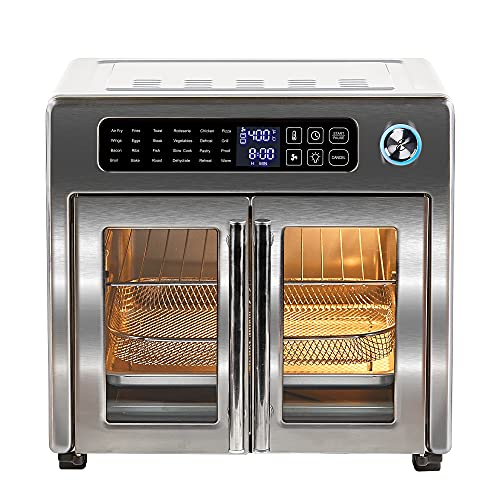 Emeril Lagasse 26 QT Extra Large Air Fryer, Convection Toaster Oven with French Doors, Stainless Steel
